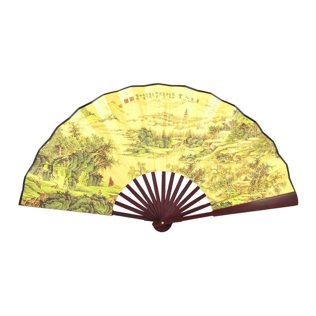 Mountain Village Print Bamboo Frame Chinese Traditional Fan light ...