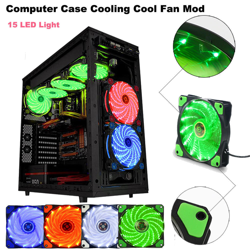 1Pcs 12V 4PIN LED Neon Red Light 120mm 120mmx25mm DC Computer Cooling Case Fan