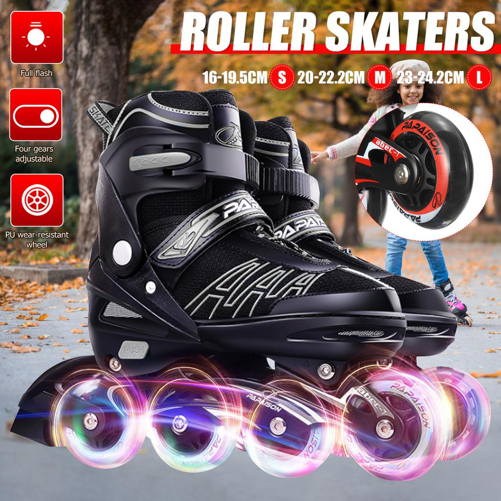 Inline Roller Skates Children Adult Full Flash Straight Adjustable Single Row Inline Skates Full Set of Kids Roller Blades Adult Men and Women Pu Mesh