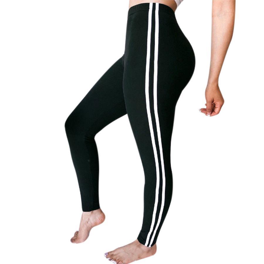feeca0fdc97b5 Женщины спортивные штаны полосой высокой талией йога фитнес леггинсы ...