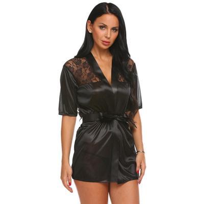 ... bath robe Lingerie. Buy · Satin Sexy Black Costume Lingerie Fashion Sleepwear  Pajamas 430c4b4e3