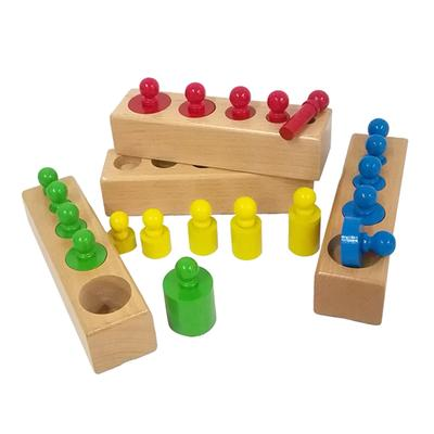 Efficient Kid Colorful Socket Cylinder Set Montessori Toy Children Beech Wooden Multicolor Block Toy Creative Boy Girl Matching Block Toy Model Building