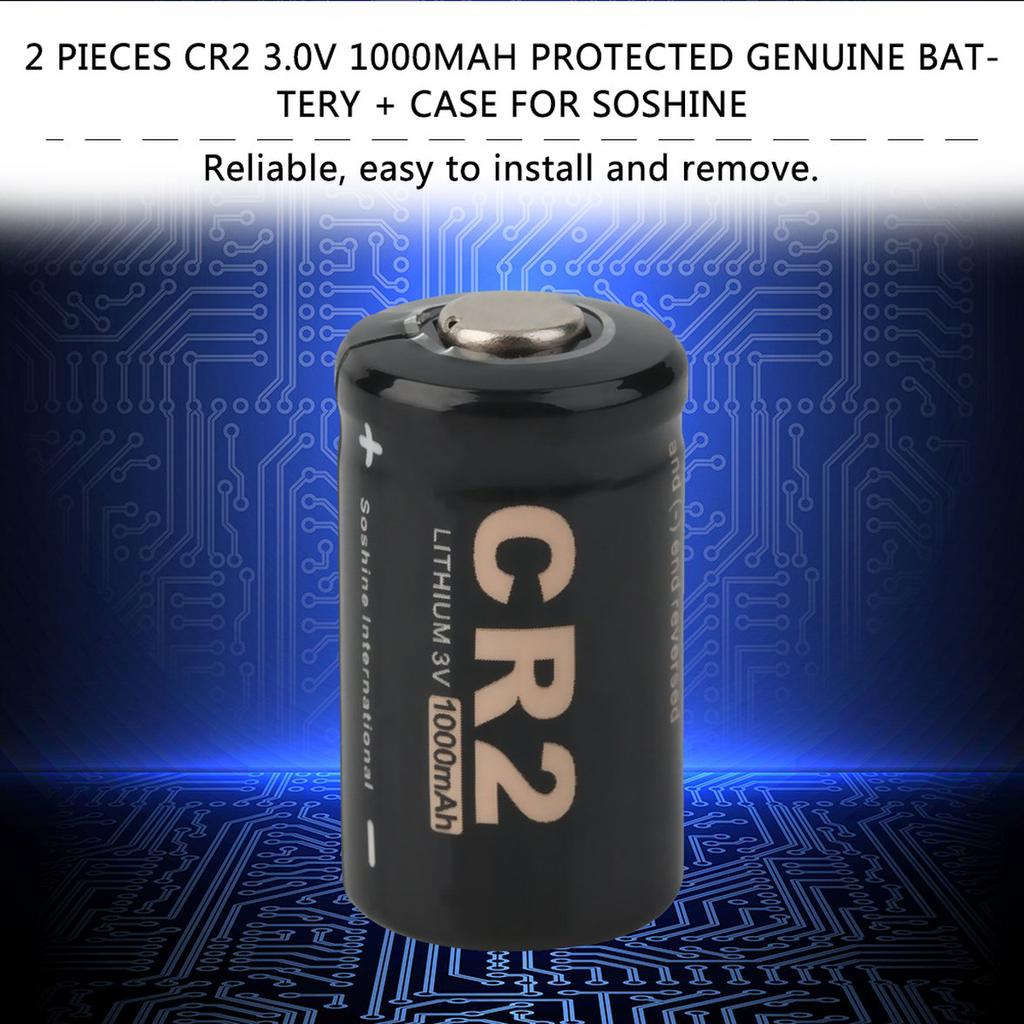 2 Pieces CR2 3.0V 1000mAh Protected Rechargeable Battery Case for Soshine SE Outillage professionnel