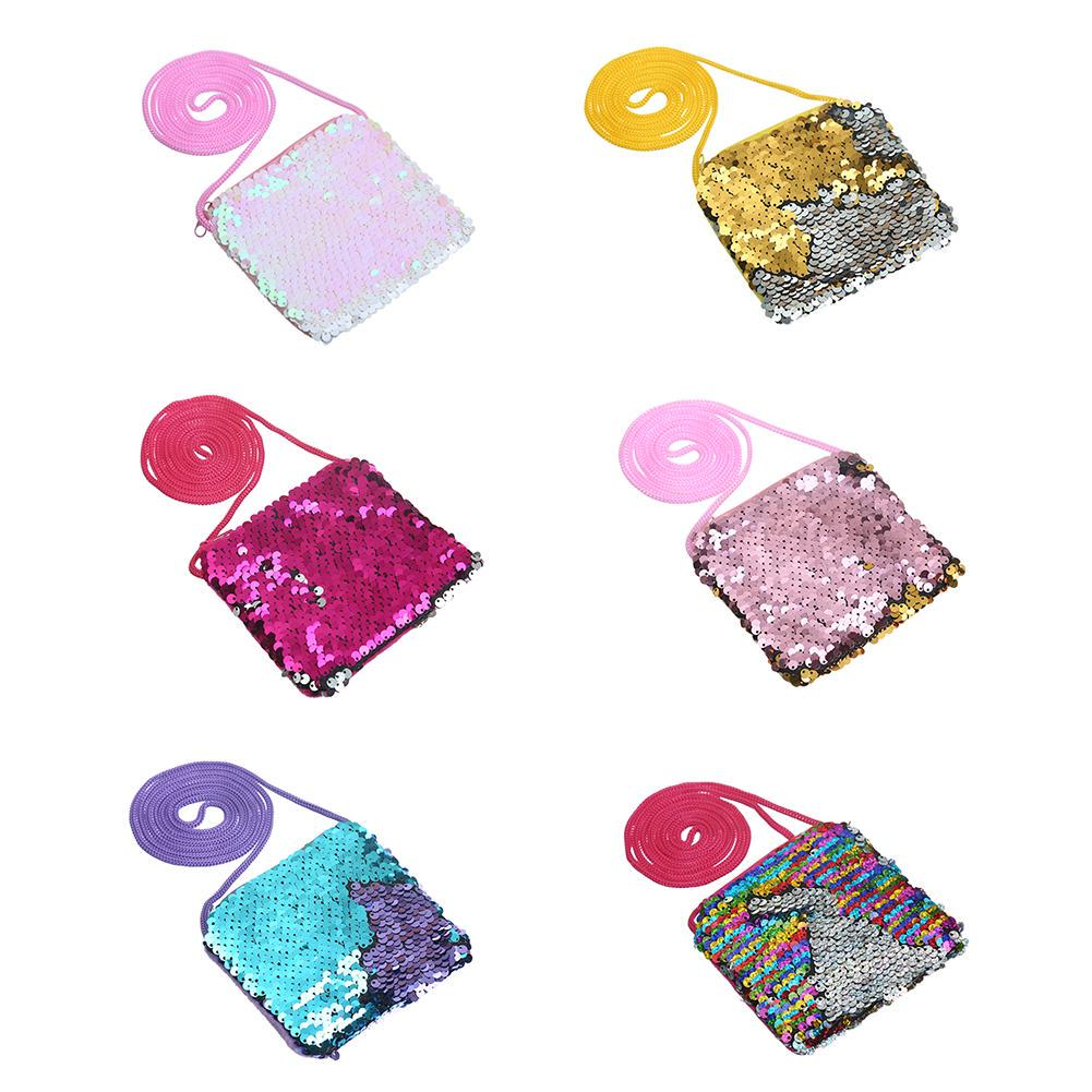 Kids Girls Cute Glitter Sequins Coin Purse Handbag Zip Wallet Pouch Packet Gifts