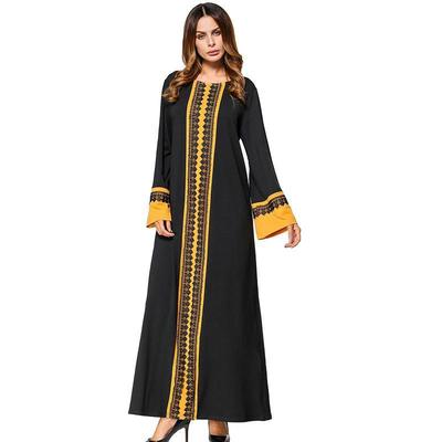 5e95e926fef Muslim Women s Kaftan Islamic clack Abaya Black Loose Knit Cotton Maxi Dress