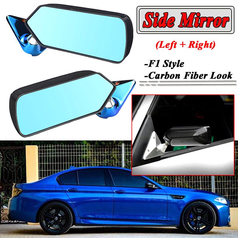 Pair Universal F1 Style  Carbon Fiber Side Mirrors Rearview Mirrors Blue Mirror