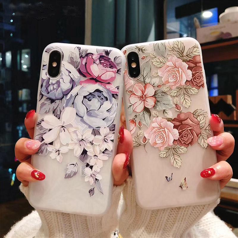 3D Silicone Case For iPhone 11 Pro Max 6 7 6S 8 Plus 5 5S X XS MAX XR Shockproof Flower Phone Case