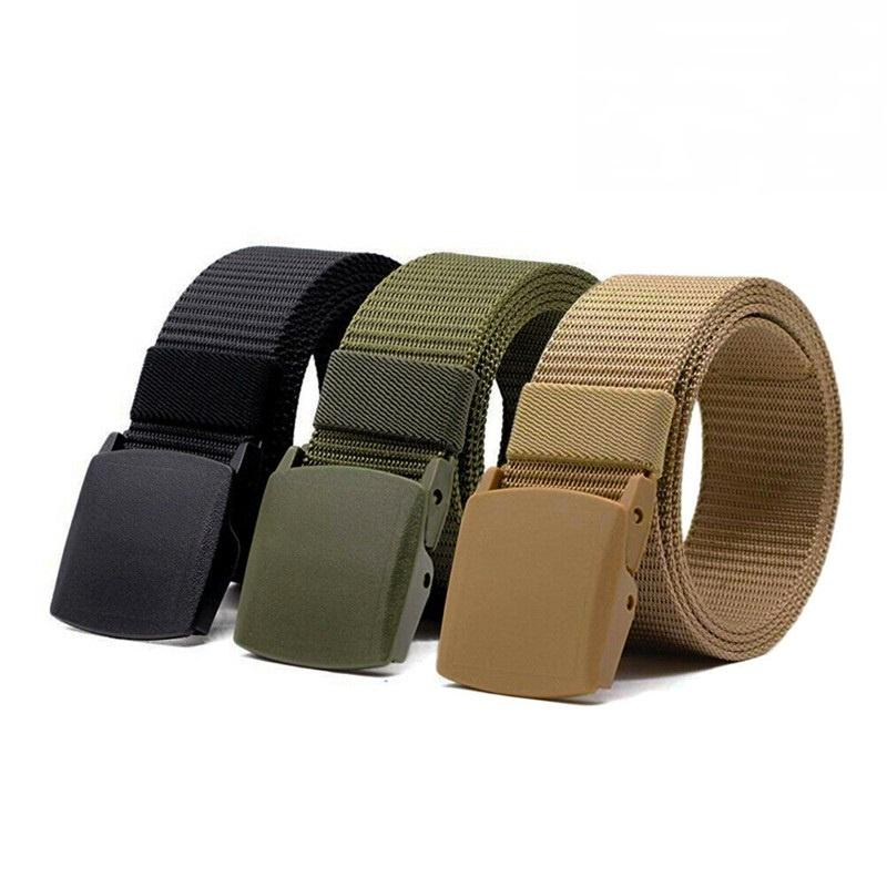 Unisex Plastic Cam Buckle Nylon Canvas Tactical Waistband Webbing Military Belt