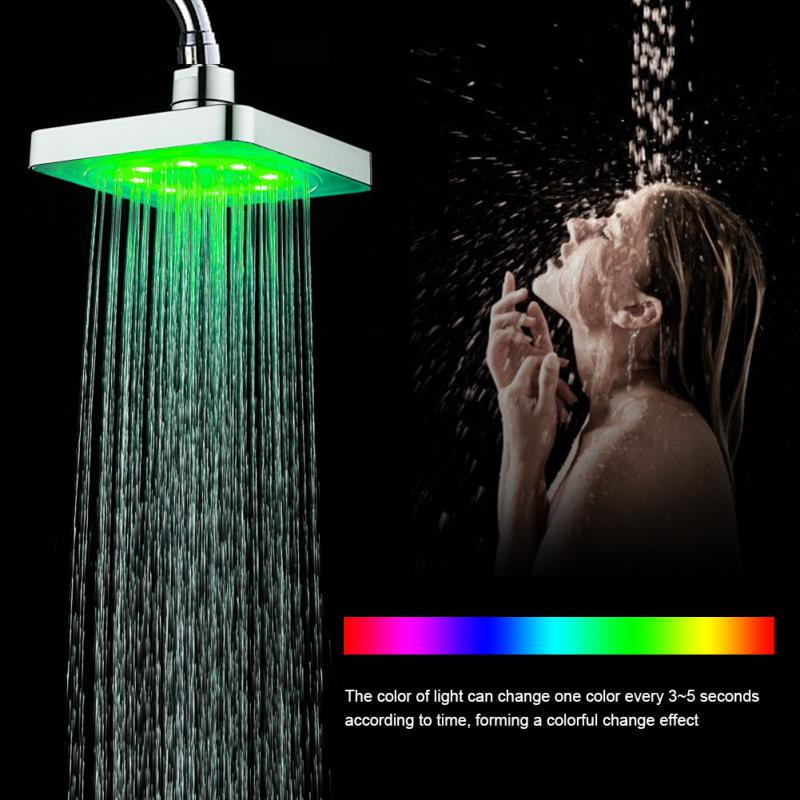 6//8 Inch 7 Colors LED Light Shower Head Color Changing Water Rain Top Sprayer