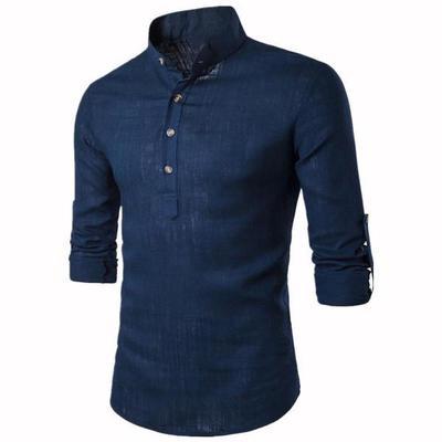 8c8e4159fd Wiosenny i jesienny styl Męskie bawełniane denimowe koszule Męskie dżinsy  niebieska koszula z długimi rękawami