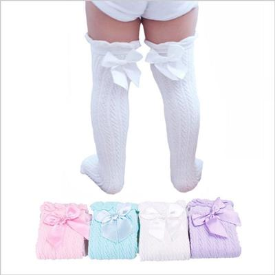 Kids Girls Child Bow-knot Cotton Mesh School Socks Knee High Warm Stockings NEW
