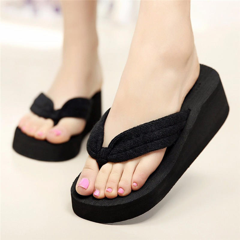 Women Wedges Platform Slippers Summer Open Toe Beach Thick High Heels Sandals