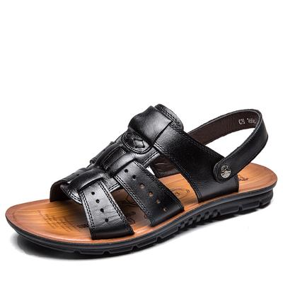 2c5ba02012537 Men s Genuine Leather Sport Beach Sandals Breathable Outdoor Casual Shoes