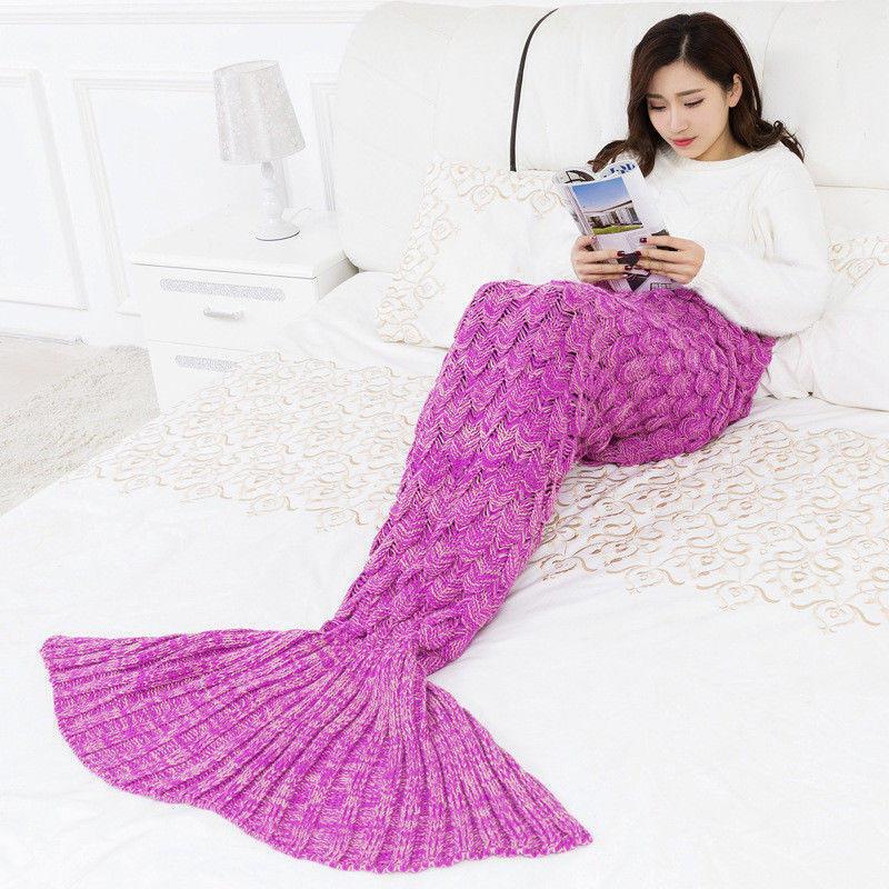 Rosa sirena cola pescado escalas mantas tejer saco de sofá para ...
