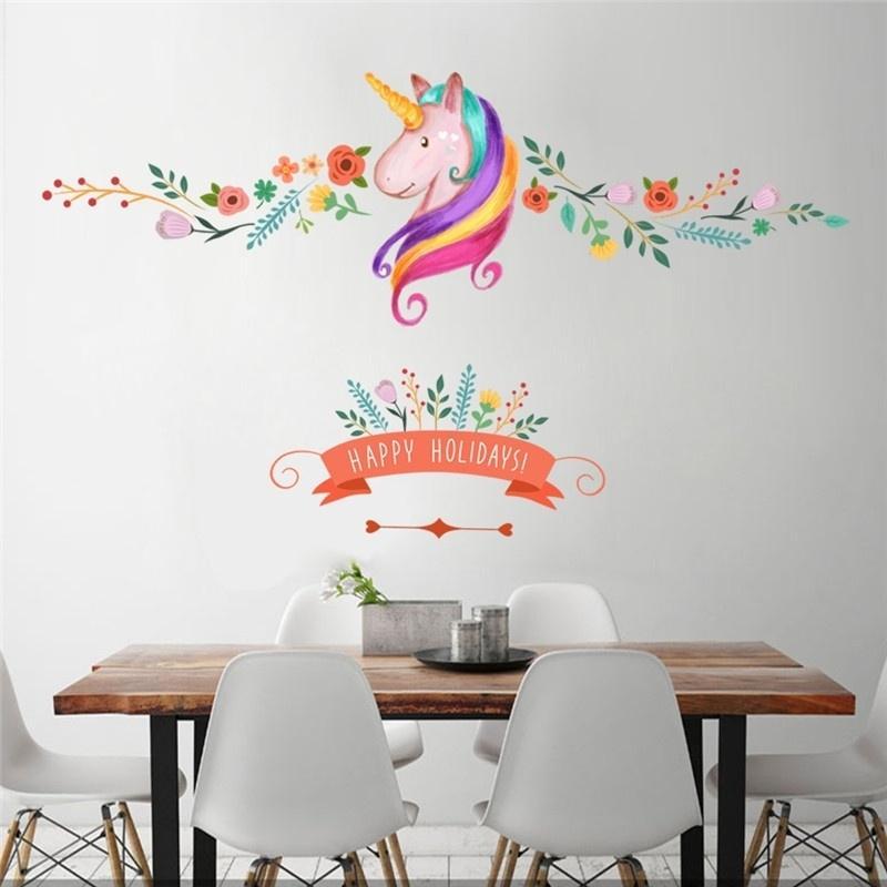 Fondo de patr/ón de dibujos animados extra/íble Etiqueta de la pared Etiqueta de la pared Impermeable para habitaciones de ni/ños dormitorio de ni/ños y ni/ñas guarder/ía de beb/és Multicolor