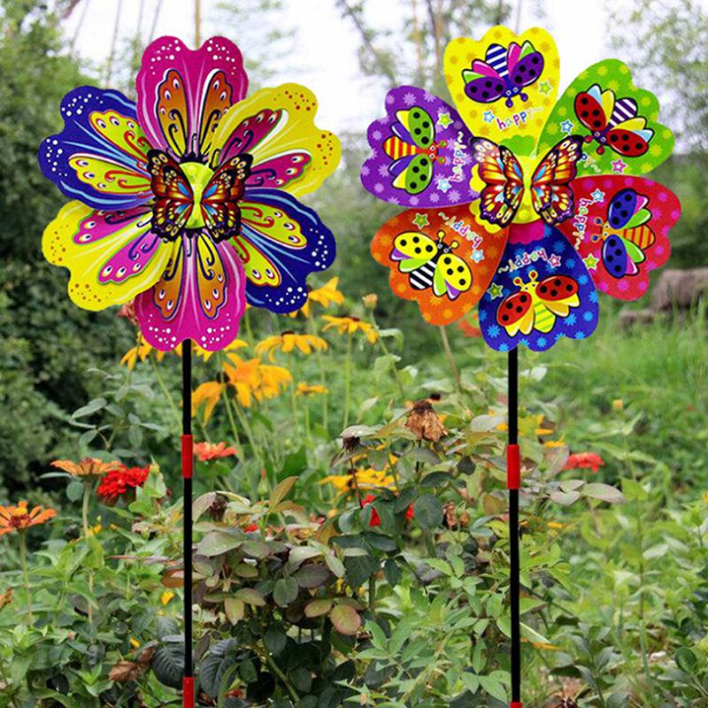 Butterfly Flower Windmill Colourful Wind Spinner Garden Gift Yard Decor G8X7