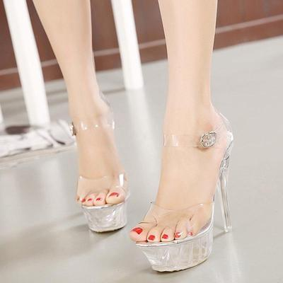 ee50152f601 New Women High Heel Sandals Sexy Crystal Transparent Shoes Shoes Fish Head  High Platform
