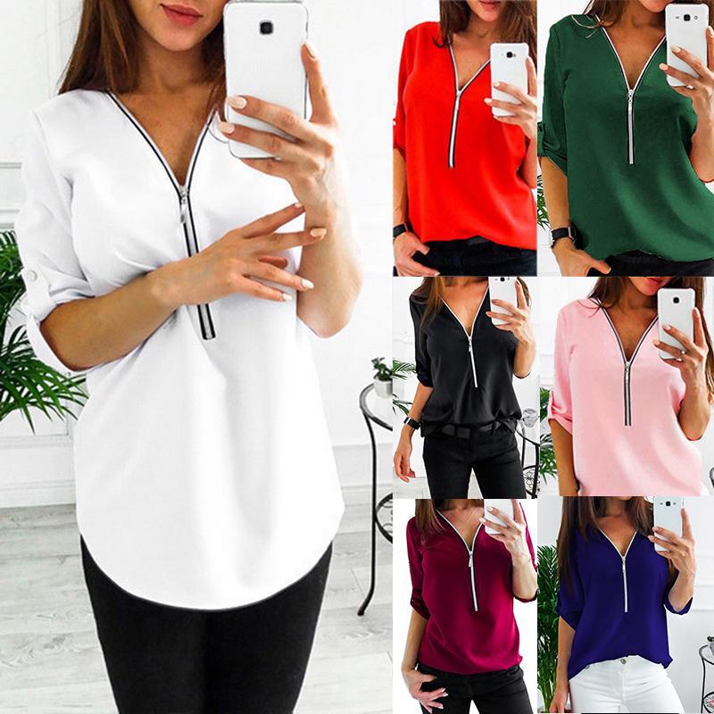 Женщины Одежда Мода Досуг Loose Циппер Глубокий V -Neck Slim Fit Waist Блузка – купить по низким ценам в интернет-магазине Joom