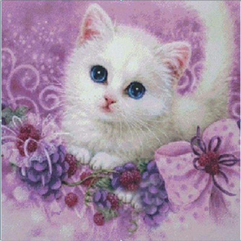 Набор алмазной мозаики 5д- котик – купить по низким ценам в интернет-магазине Joom