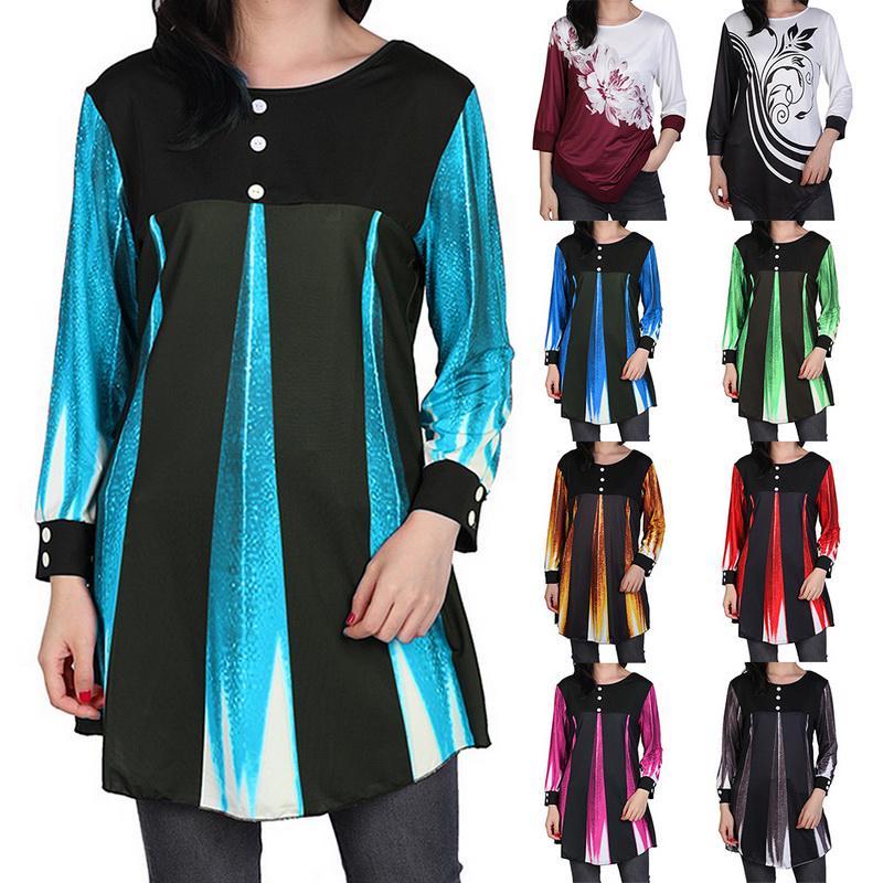 Летняя женщина блузки Loose случайные девушка Длинные рукава Рубашка Top Мода Блузка женская одежда фото