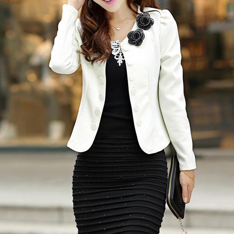 2017新款韩版修身OL气质双排扣小西服短款大码小西装
