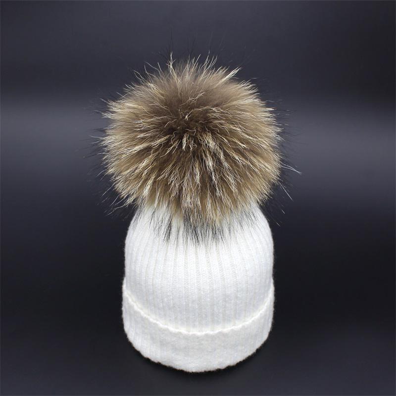 a47caab2fb3 Lanxxy Women Winter Hats Real Mink Fur Pom Poms Hat Girls Cotton ...