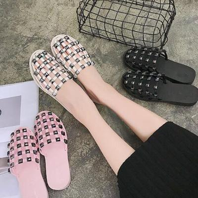 d35b41c46 Studded Mules Cuts-out Sandals Women Hollow Slippers Sandy Half Drag  Pointed Beads Rivets Shoes