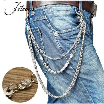 3-Layer Silver Punk Metal Belt Waist Chain Male Pants Chain Men Jeans Chains