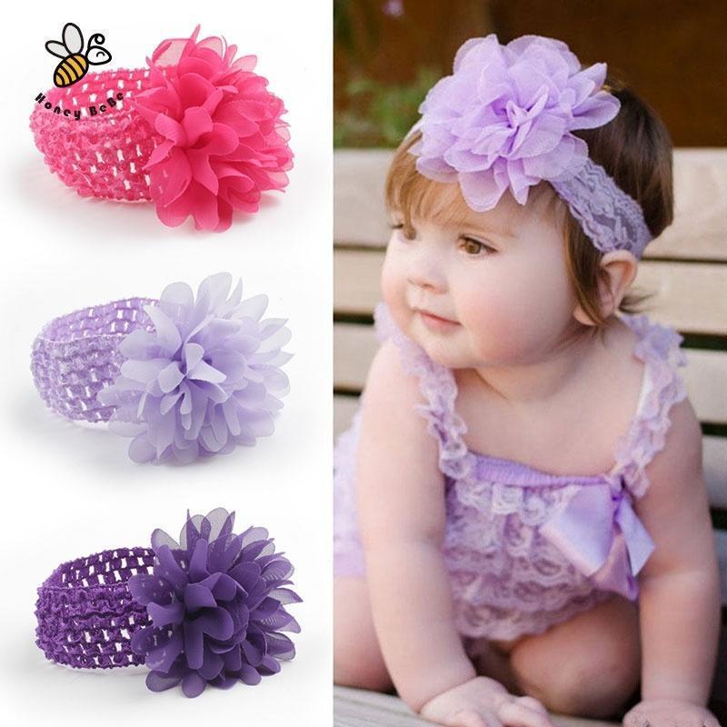 215b710fa Accesorios para el cabello diadema de encaje de bebé gasa flor ...