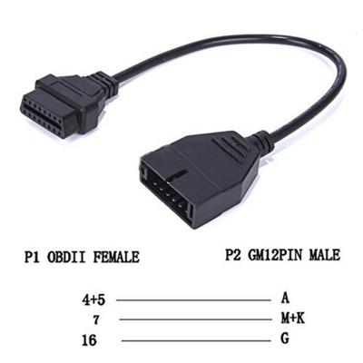 Obd2 Extension Cable 12 Pin To 16 Pin Female Obd1 Adapter