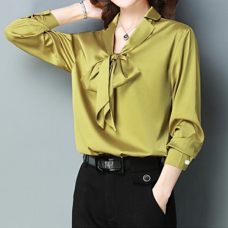 Women/'s Satin Silky Long Sleeve Shirt Blouse Ladies Bow Tie Neck Office OL Tops