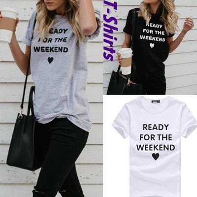Womens Lightweight Letter Printed Short Sleeve Tunics Round Neck Blouses Loose Tops T-Shirt
