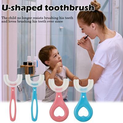 Children U-shape Toothbrush Silicone Toothbrush Thorough Cleansing Oral Brushing Tool