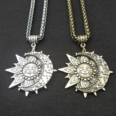 Mandala Flower Logo Pendant Necklace Vintage Bronze Chain Statement Necklace Handmade Jewelry Gifts