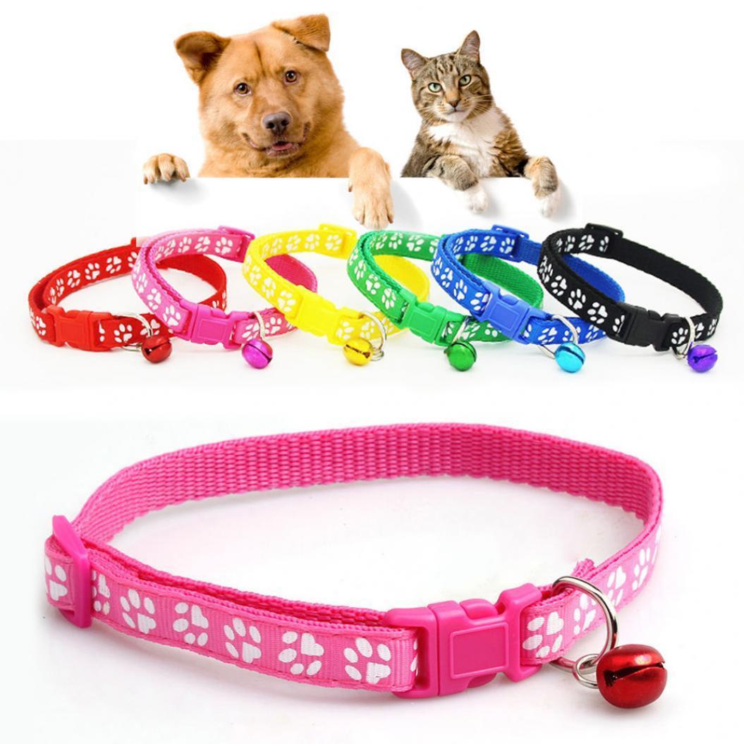 Мода щенка Cat котенка пряжки мило лапу печати Белл регулируемые ПЭТ ошейник фото