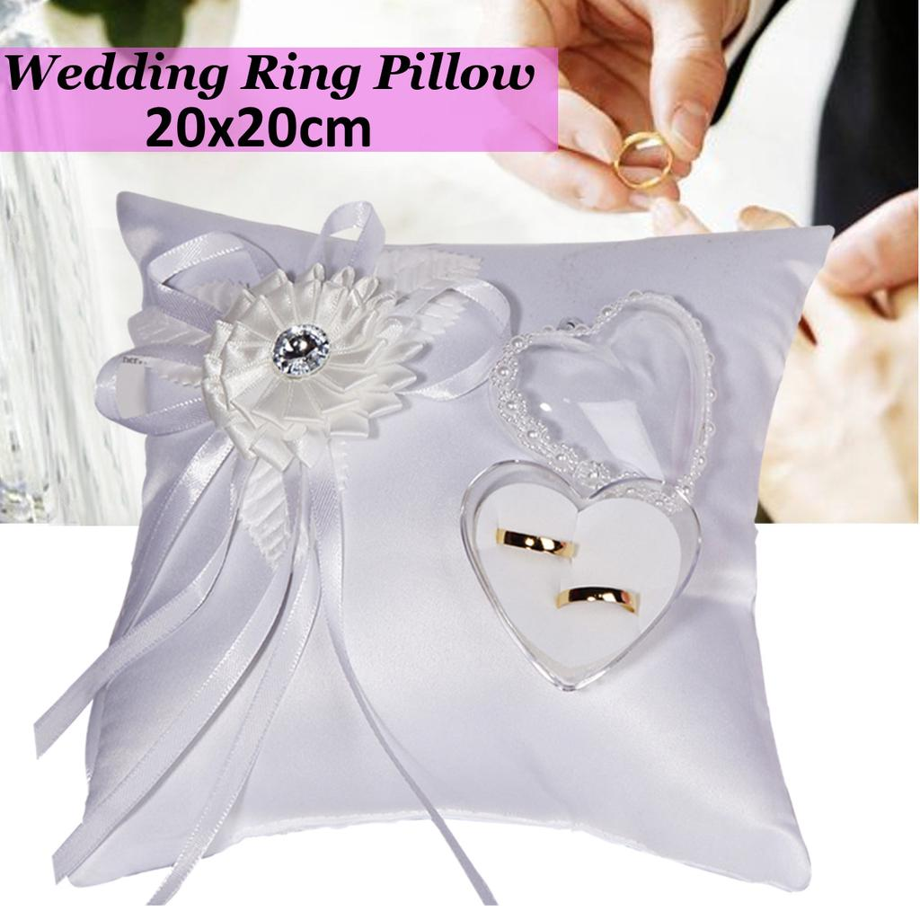 "White Love HEART Wedding Bridal Ring Bearer Pillow Pearl Cushion 4/"""