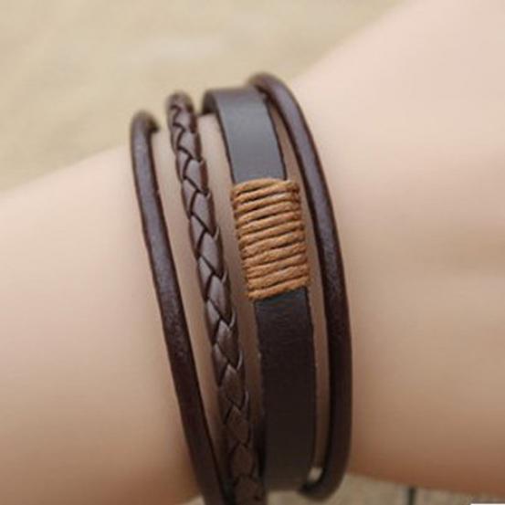 Унисекс старинные ретро многослойные плетеный искусственной кожи браслет браслет браслет фото