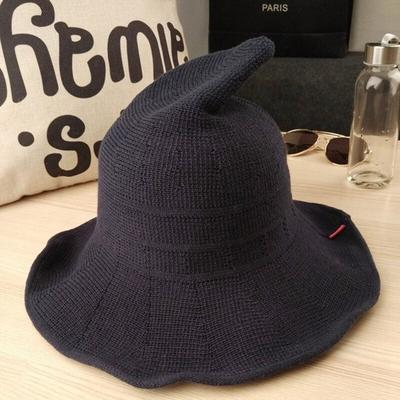 Women Witch Pointed Spire Halloween Winter Female Knit Fisherman Hat Bucket Hat
