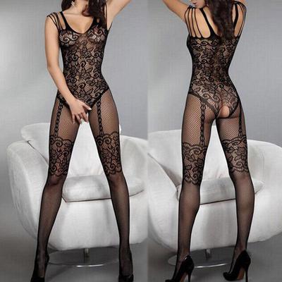 Ladies Lace Fishnet Catsuit Open Crotch Stockings Lingerie Bodysuit