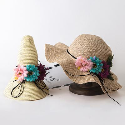 Kids Baby Sun Hat Straw Summer Beach Cap Empty Top Boys Girls Toddlers Bunny Hat
