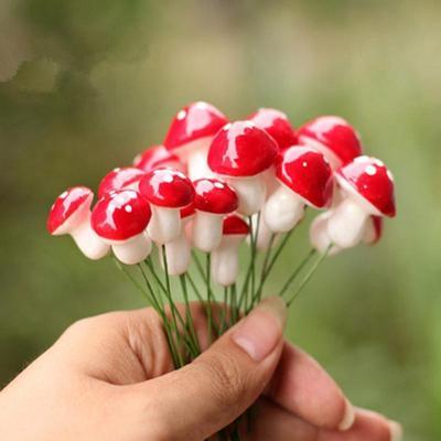50pcs Mini Red Mushroom for Miniature Plant Pots Fairy Decor Garden Fashion HOT