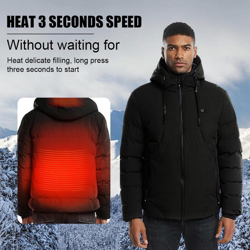 Mens Down Jackets,Males Cotton Zipper Smart USB Abdominal Coat Outwear Electric Heating Warm Jacket