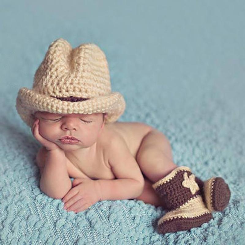 nace bebé Crochet Knit vaquero traje sombrero zapatos Pography ... c678e6503c31