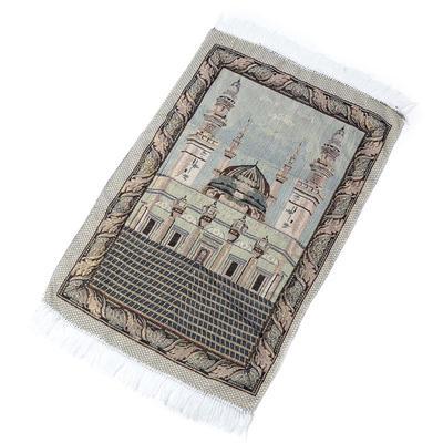 WE-WHLL Portable Muslim Prayer Rug Simply Print Polyester Braided Mat Travel Home Waterproof Blanket Mat 70x110CM