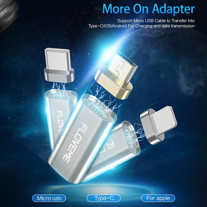 9168c065eae FLOVEME Micro USB para tipo C/Apple/iPhone Micro magnético cargador ...