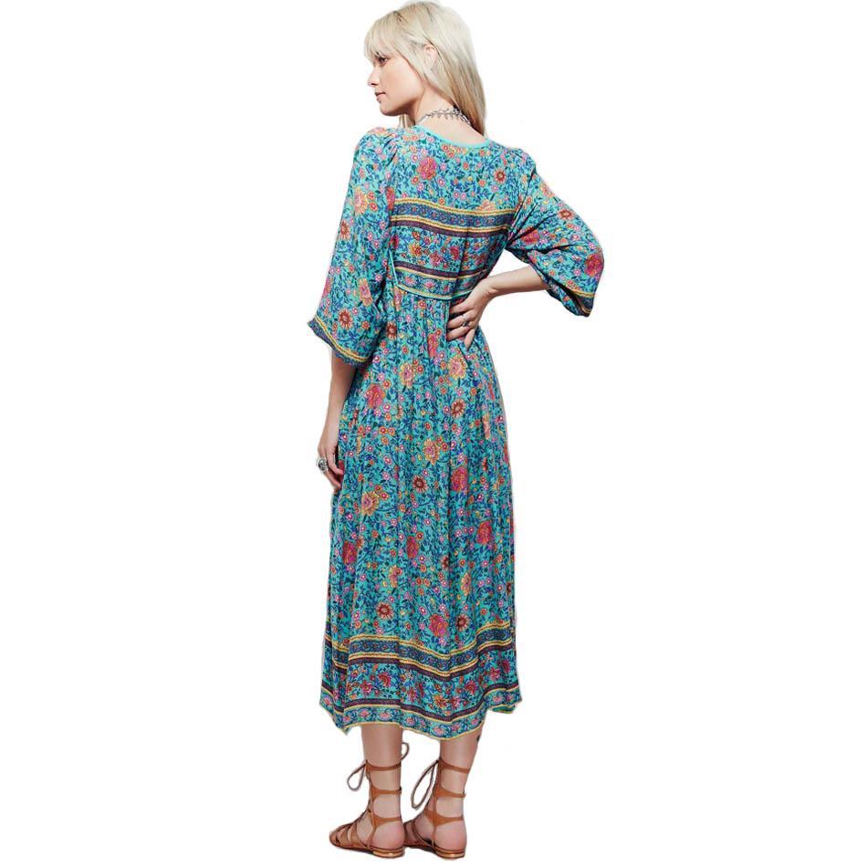 Vintage 70s hippie Deep V Neck Ethnic India Floral Bib Boho Festival midi Dress