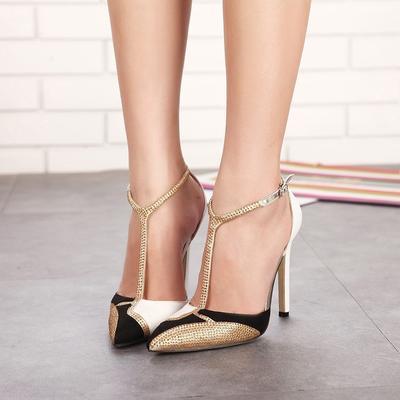 Sexy Del Las Mujeres Sandalias Mujer Correa De Tacones Noche Rhinestone Zapatos Frente Bombas Puntiagudo kXnwO0N8P