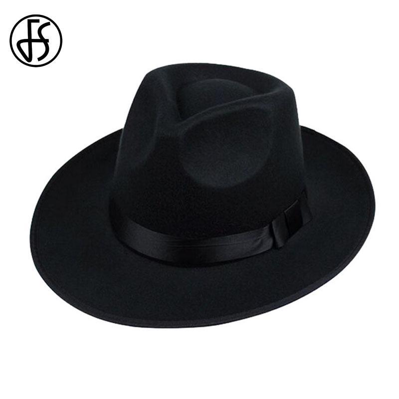 Unisex Vintage Black Hat Brown Wool Wide Brim Fedora Gray Men ... e8da3f860da9