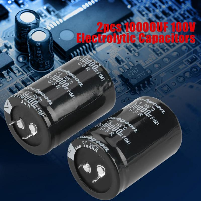 2pcs 10000uF 100V Aluminum Electrolytic Capacitor 105℃ 35X50mm for a Wide Range of Electronic Applications Accessory Electrolytic Capacitor