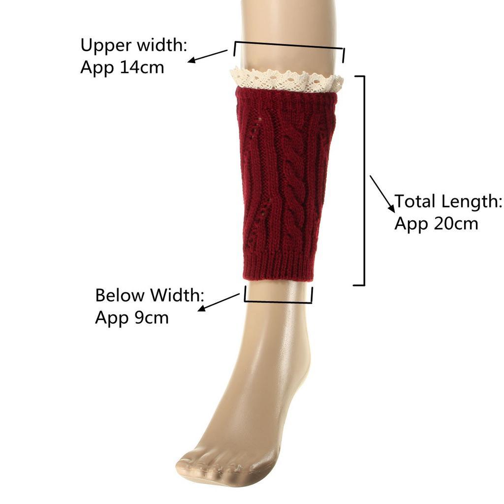 2682f3900 Par de calcetines calentadores de pierna de invierno botines de encaje  recortar calcetas de polainas tejer calcetines altos
